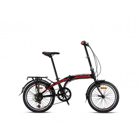 Kron Fold 3.0 Katlanır Bisiklet (Siyah Kırmızı Beyaz)